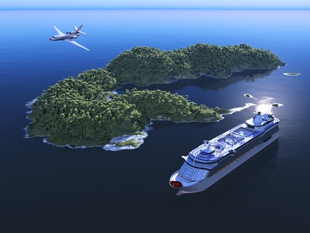 A modern liner and an island  in an ocean      photo