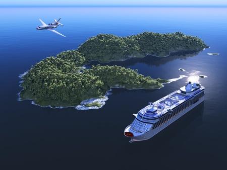 anchored: A modern liner and an island  in an ocean