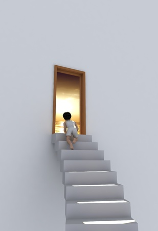 The boy on the stairs near the door. photo