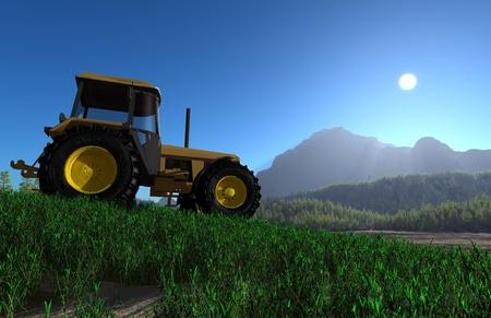 front loader: Tractor en el fondo del paisaje de montaña. Foto de archivo