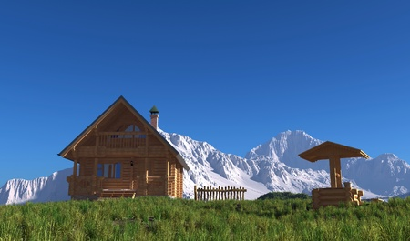 A wooden house on the background of the mountain landscape. photo