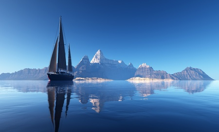 Yacht at sea against the backdrop of the mountains.  photo