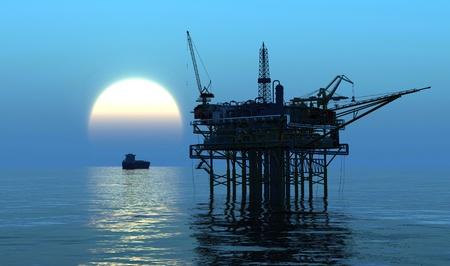 pozo petrolero: Plataforma petrolera en la tarde noche