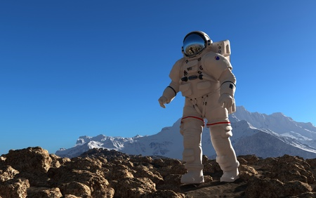 Der Astronaut auf dem Hintergrund des Planeten. Standard-Bild