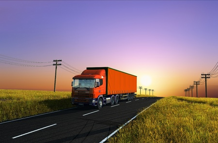 Truck on the background of the landscape. photo