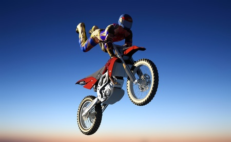 Silhouette of an athlete and a motorcycle in the sky. photo