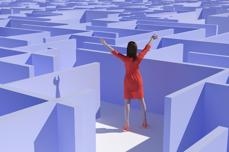 meditation help: Woman asks for help in the maze. Stock Photo