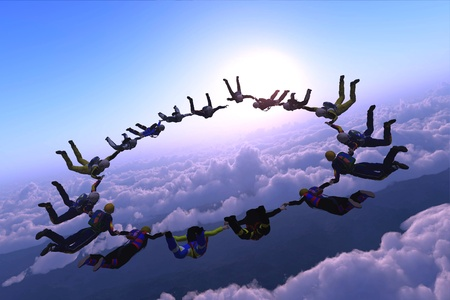 parachute jump: The group of athletes in the sky.
