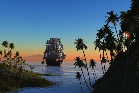 merchant: Vintage sailboat vmore at sunset