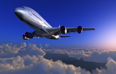 雲の上空で旅客機。