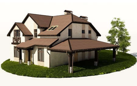 3d model: Cottage on the grass on a white background.