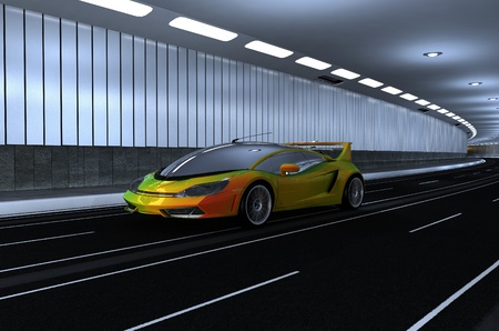 street racing: Sports car in the tunnel.