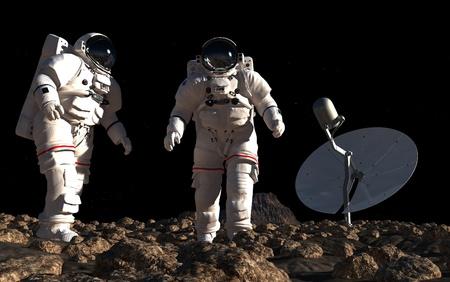 惑星の背景に宇宙飛行士。 写真素材