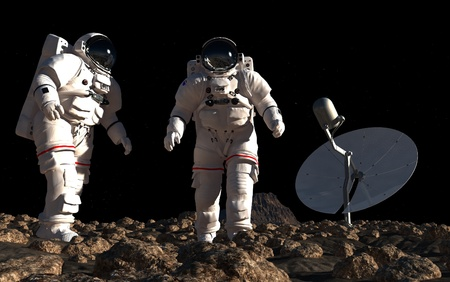 The astronauts  on the background of the planet. photo