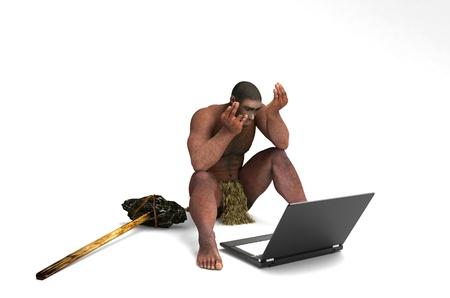 hombre prehistorico: El hombre primitivo con un ordenador portátil sobre un fondo blanco