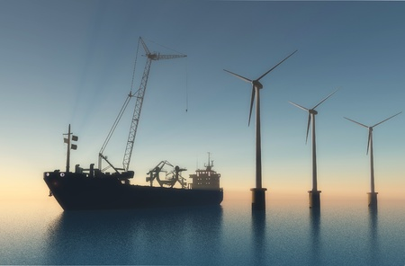 Ship building near Wind generators. photo