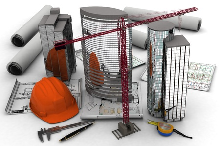 construction site helmet: Models of skyscrapers on a white background. Stock Photo