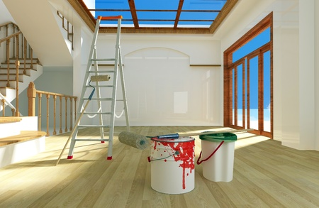 construction plans: The paint on the floor of a modern home.