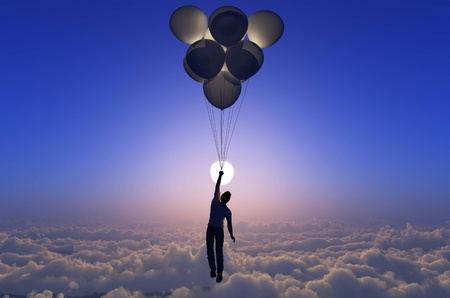 Man flies on the balloons in the sky