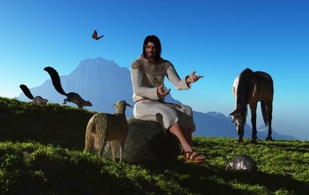 antique jesus: Jesus is talking to animals in nature.