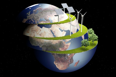 solar wind: Of wind generators and solar panels on the Model of the globe.