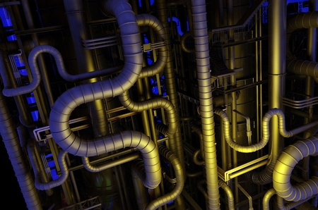 engine oil: A lot of pipes on a dark background. Stock Photo