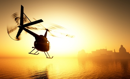 civilian: Civilian helicopter in the sky.