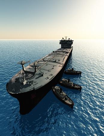 De tanker en meerdere boten.