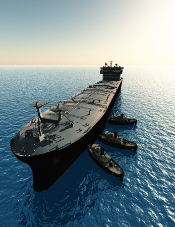 Le camion-citerne et plusieurs bateaux. Banque d'images - 20123324