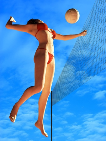 Figure of a girl playing volleyball. photo