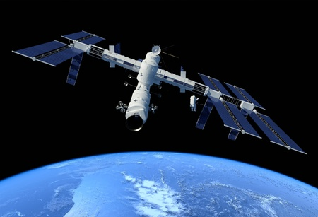 future space: Space station in outer space.