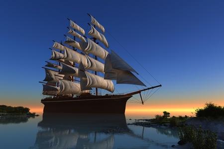 merchant: Sailboat in the lagoon of the island green. Stock Photo
