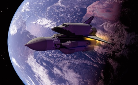 future space: The space ship in outer space