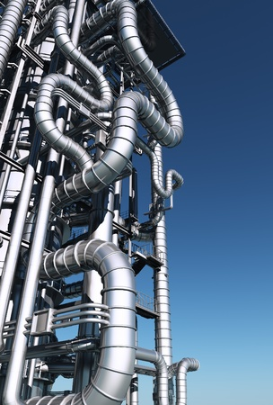 Catalyst: metal pipes against the sky.