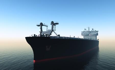 Het vrachtschip op een achtergrond van de zee