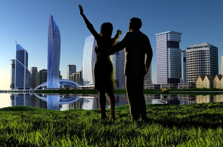 silhouette of a couple on the background of the modern city. photo