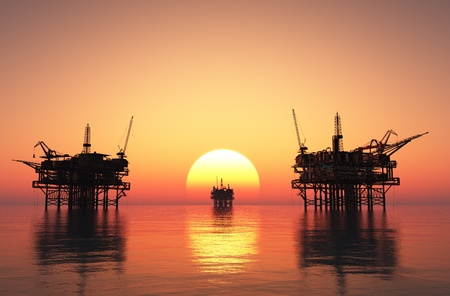 oil well: Oil Rig at late evening