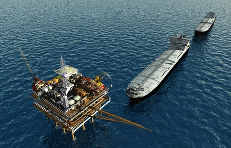 extraction of oil: Oil production into the sea from above.