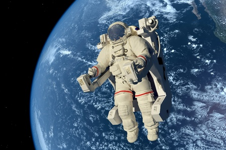 cosmonaut: Astronaut in outer space in the chair.