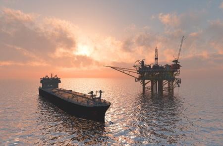 barco petrolero: La producci�n de petr�leo en el mar desde lo alto. Foto de archivo