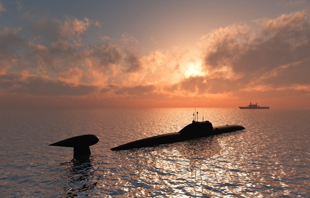 nuclear weapons: The military ship in the sea