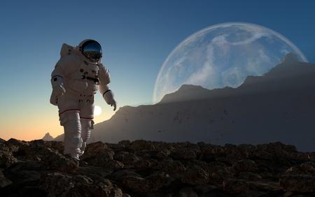 shuttle: De astronaut op de achtergrond van de planeet. Stockfoto