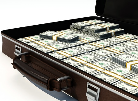 money rain: Suitcase of dollars on a white background.