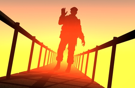 The silhouette of a soldier on the bridge. photo