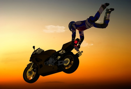 motorbike: Silhouette of an athlete and a motorcycle in the sky.