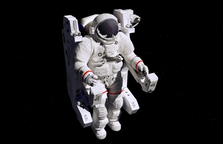 shuttle: Astronaut in outer space in the chair.