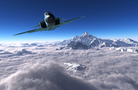 military aircraft: Military aircraft in the sky above the clouds.