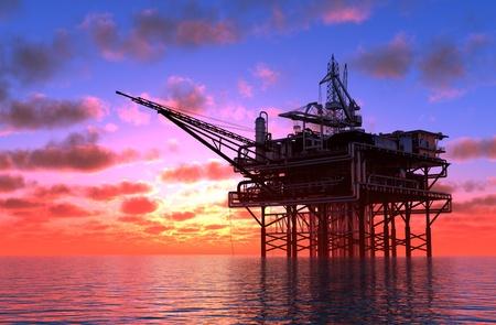 Die Ölproduktion im Meer. Standard-Bild