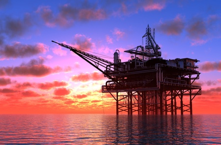 Produkcja ropy w morzu. Zdjęcie Seryjne