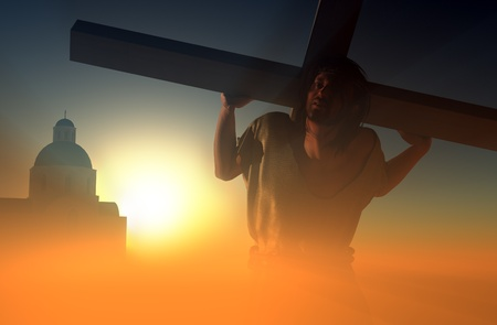 Jesus carries the cross in the sunlight. photo